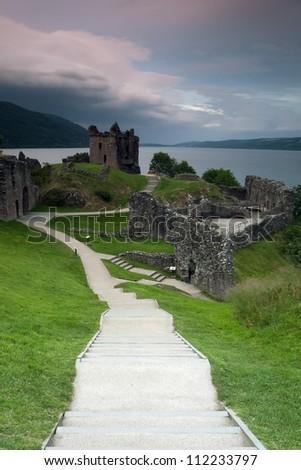Urquhart Castle in Scotland - stock photo