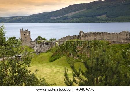 Urquhart Castle, overlooking Loch Ness - stock photo