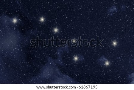 Ursa Major constellation in night sky with stars - stock photo