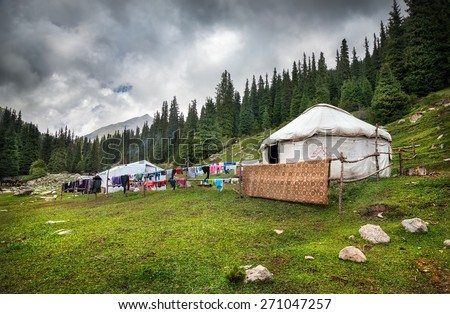 Urta nomadic house in the mountains of Kyrgyzstan, Central Asia - stock photo