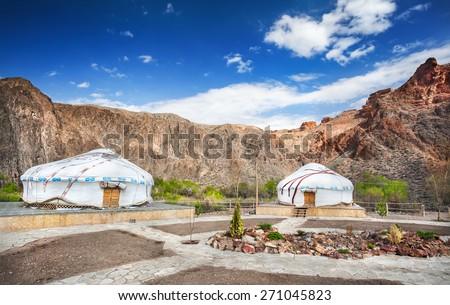 Urta nomadic houses in Charyn grand canyon, Kazakhstan - stock photo
