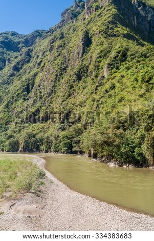 Urubamba river near Aguas Calientes village, Peru - stock photo
