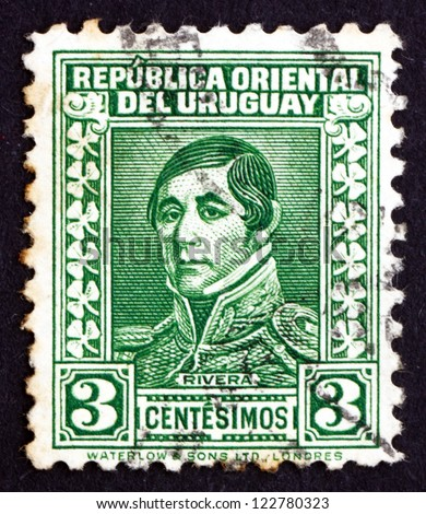 URUGUAY - CIRCA 1934: a stamp printed in the Uruguay shows Jose Fructuoso Rivera y Toscana, General and Patriot, 1st President of Uruguay, 1830 - 1834, circa 1934 - stock photo