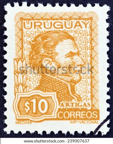 URUGUAY - CIRCA 1972: A stamp printed in Uruguay shows General Jose Artigas, circa 1972.  - stock photo