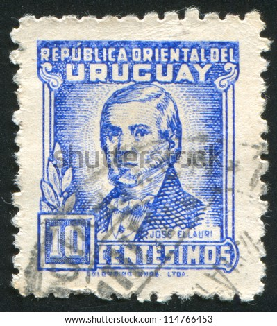 URUGUAY - CIRCA 1945: stamp printed by Uruguay, shows Jose Ellauri, circa 1945 - stock photo