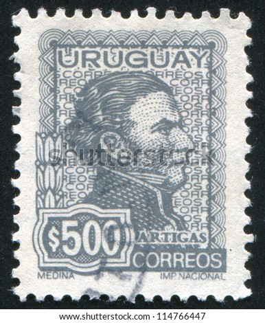 URUGUAY - CIRCA 1972: stamp printed by Uruguay, shows Jose Gervasio Artigas, circa 1972 - stock photo