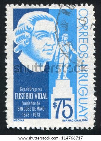 URUGUAY - CIRCA 1974: stamp printed by Uruguay, shows San Jose de Mayo by Eusebio Vidal, circa 1974 - stock photo
