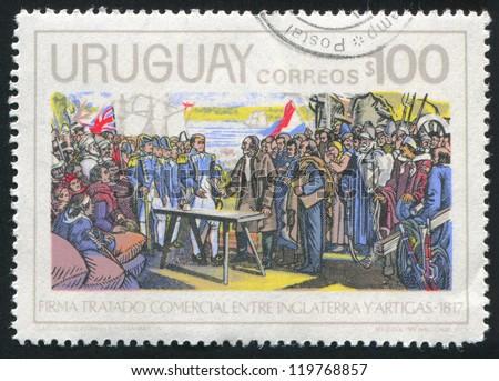 URUGUAY - CIRCA 1975: stamp printed by Uruguay, shows Treaty Signing, by Jose Zorilla de San Martin, circa 1975 - stock photo