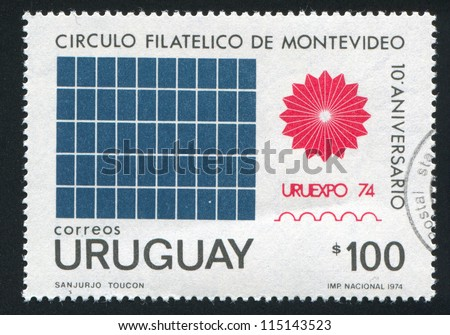 URUGUAY - CIRCA 1974: stamp printed by Uruguay, shows URUEXPO Emblem, circa 1974 - stock photo