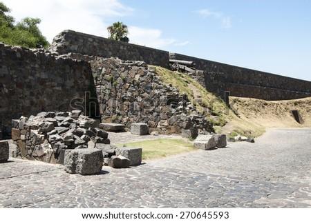 Uruguay - Colonia Del Sacramento - UNESCO World Heritage Site - Fortress Wall / Colonia Del Sacramento - Stone Wall  - stock photo