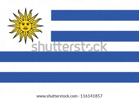 Uruguay flag drawing by pastel on charcoal paper - stock photo