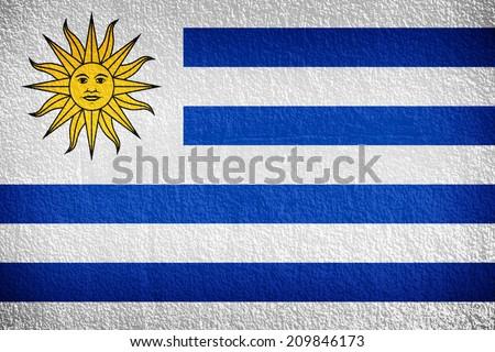 Uruguay Flag painted on grunge wall  - stock photo