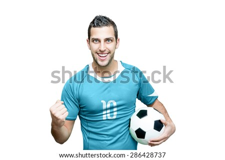 Uruguayan fan celebrates on white background - stock photo