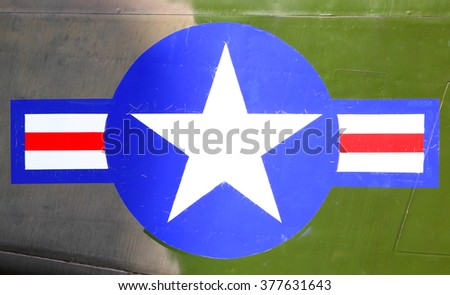 US Air Force stars and stripes close-up - stock photo