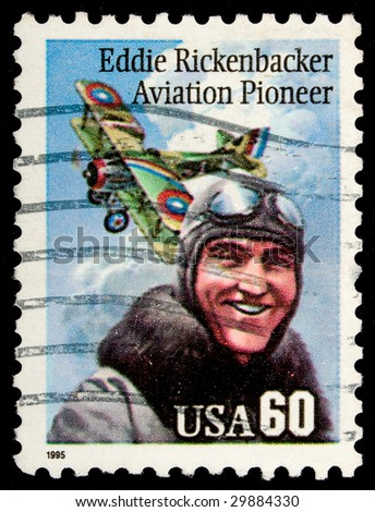 US Airmail stamp commemorating  pioneer pilot Addie Rickenbacker - stock photo