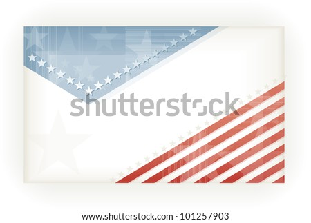 US American flag themed background, business, or gift card using pale blues and reds. Space for your text, vector version available. - stock photo