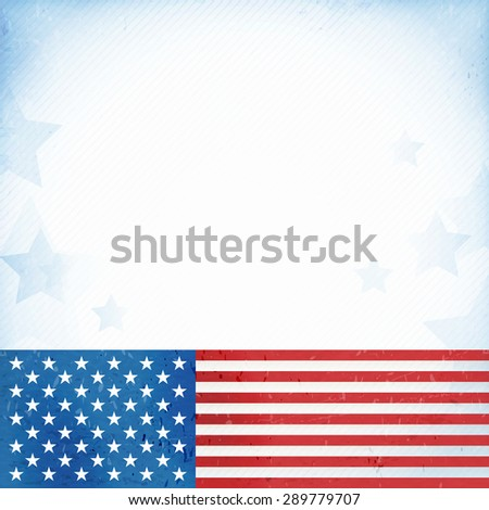 US American flag themed background, or card with flag at the bottom forming a patriotic border on a distressed, worn background with faintly visible stripes and stars. - stock photo