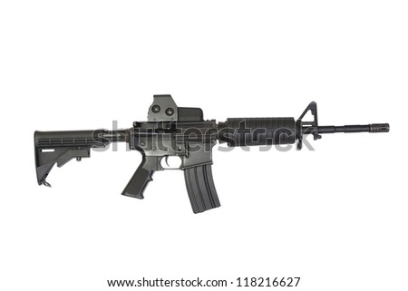 US Army carbine with ACOG Gunsight isolated on a white background - stock photo