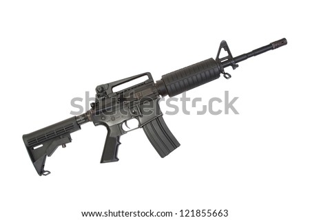 US Army carbine with silencer isolated on a white background - stock photo