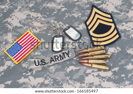 US ARMY concept with camouflage uniform - stock photo