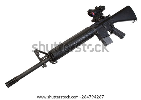US Army M16 rifle isolated on a white background - stock photo