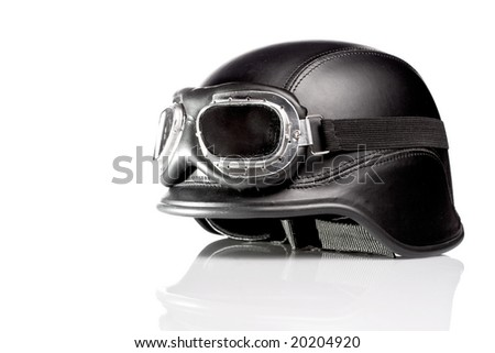 us army motorcycle helmet with goggles - stock photo