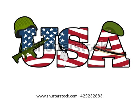 US Army symbol. Military Emblem Of America. American Flag. Military rifle, automatic. Green beret and a soldiers helmet. Soldiers badge and cartridge belt. National symbol of America - stock photo