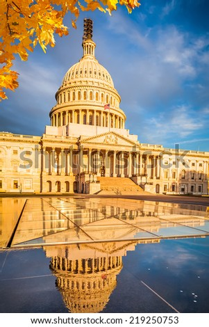 US Capitol at early morning - stock photo