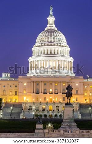 US Capitol Building at dusk, Washington DC, USA - stock photo