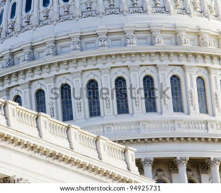 US Capitol Building Dome, windows, Washington, DC, US Congress, - stock photo
