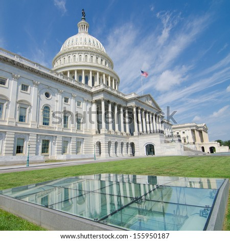 US Capitol Building East facade in a cloudy day - Washington DC, United States - stock photo
