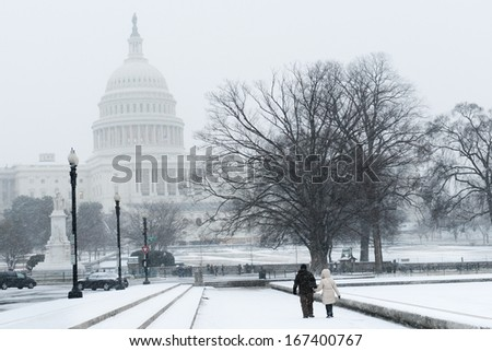 US Capitol Building in heavy snow - Washington DC, United States - stock photo