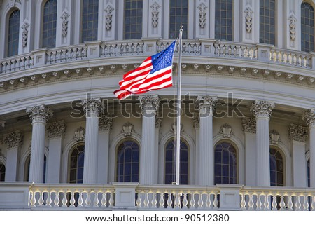 US Capitol Building, Washington DC - Close up view with US Flag - stock photo