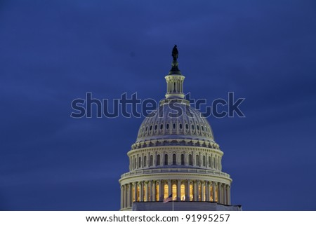 US Capitol dome detail in twilight - Washington DC USA - stock photo