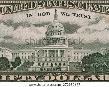 US Capitol from the fifty dollar bill, united states money closeup - stock photo