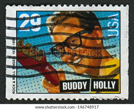US - CIRCA 1993: A stamp printed in US shows image of the Charles Hardin Holley, known professionally as Buddy Holly, was an American singer-songwriter and a pioneer of rock and roll, circa 1993.  - stock photo