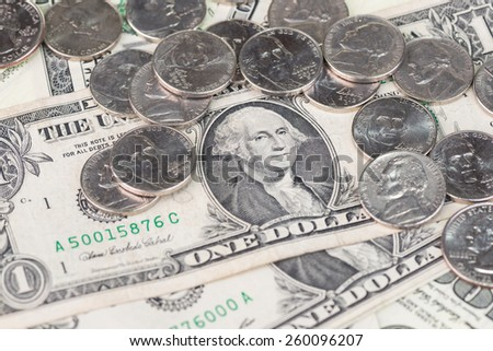 US coins and banknotes  - stock photo