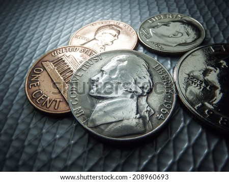 US Coins collection - stock photo