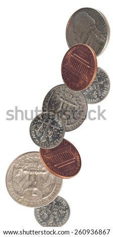 US Coins Falling - stock photo