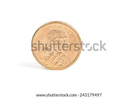 US coins isolated on white background - stock photo