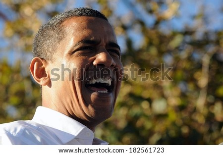 US Democratic presidential candidate Illinois Senator Barack Obama at a public appearance for Barack Obama Campaign Stop in Philadelphia, Mayfair Diner, Philadelphia, PA, October 11, 2008 - stock photo
