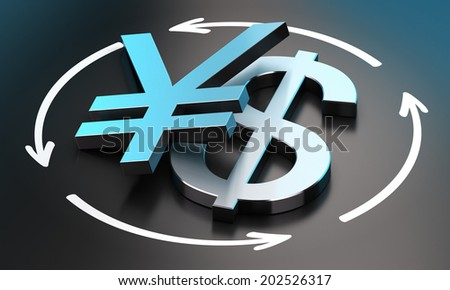 US Dollar and Japanese Yen symbols over black background with circular arrows. conceptual image for illustration of exchange rate between the two currencies - stock photo