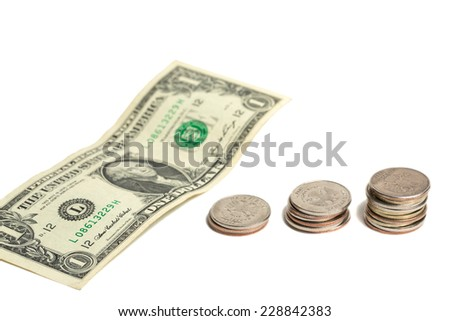 US dollar and russian money isolated on white background; - stock photo