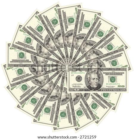 US dollar bank note in circle - stock photo