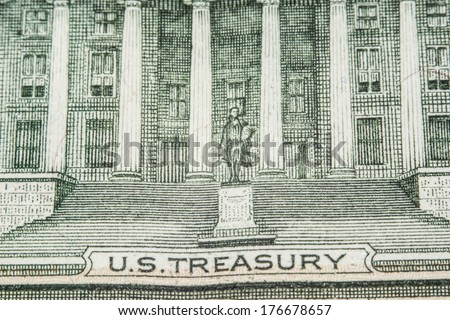 us dollar bill, national treasury - stock photo