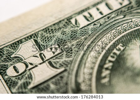 US Dollar bill, super macro, close up photo - stock photo