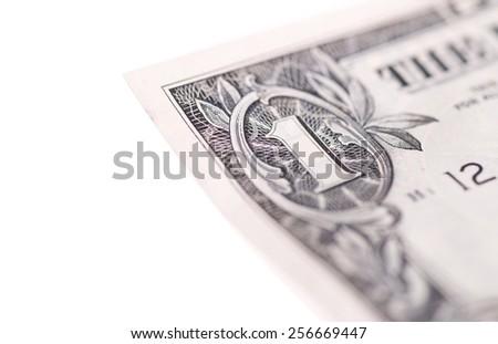 US Dollar bill, super macro, close up photo on white background - stock photo