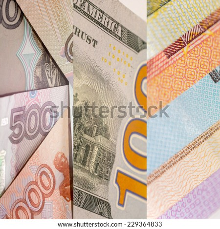 US Dollar, Euro and Russian Rouble bills, composition - stock photo