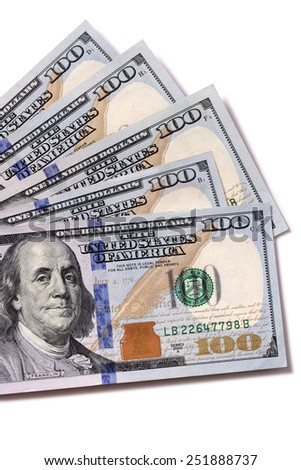 US Dollar : Fan shape of US hundred dollar bills isolated on white. - stock photo