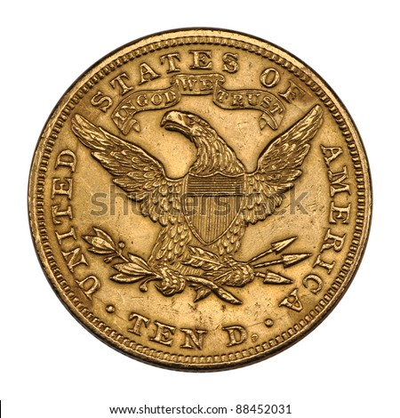 US 10 dollar - front Eagle gold coin 1894 - stock photo